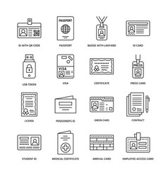 Documents identity flat line icons id vector