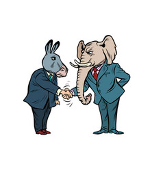 donkey shakes elephant hand democrats republicans vector image