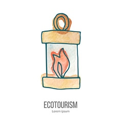 ecotourism doodle on watercolor texture vector image