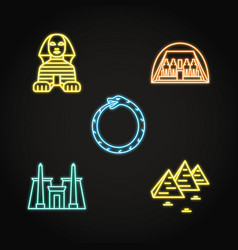 Egypt icons set in neon line style vector