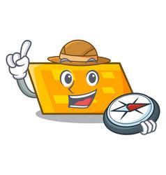 explorer parallelogram mascot cartoon style vector image