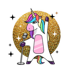 fantasy singing animal horse unicorn vector image