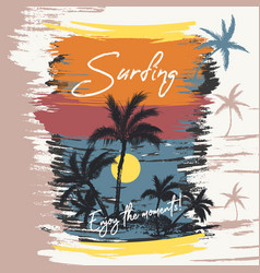 fashion beach palms sea sunset surfing vector image