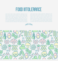 Food intolerance concept with thin line icons vector