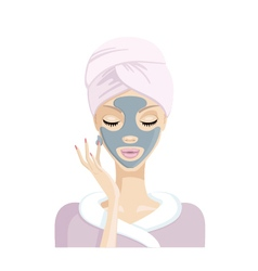 Girl does the mask of clay on the face illu vector image