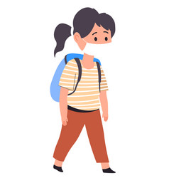 Girl in protective mask going to school vector