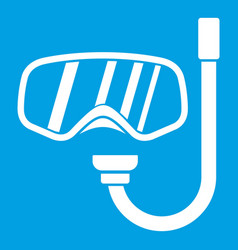Goggles and tube for diving icon white vector