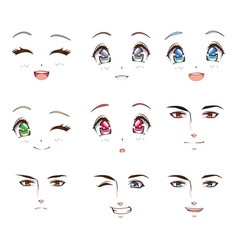 Group young people faces anime style characters vector