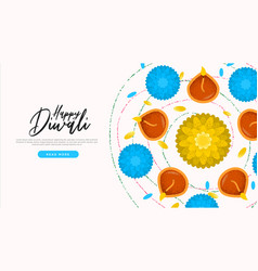 Happy diwali holiday flower candles web template vector