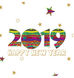 Happy new year 2019 card with creative digits and vector