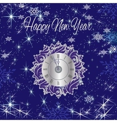Happy new year with clock stars and snow vector image