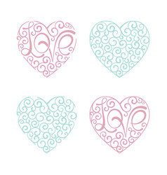 heart set curl love lettering design element vector image