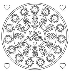 hello summer coloring page black and white vector image