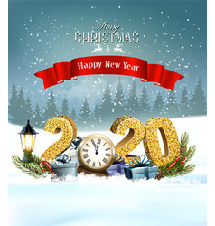 Holiday christmas background with 2020 vector