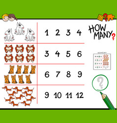 how many dogs counting game vector image