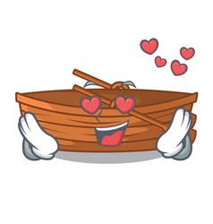 In love wooden boat sail at sea character vector