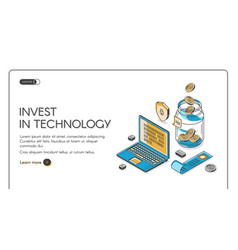 Invest in technology isometric landing page banner vector