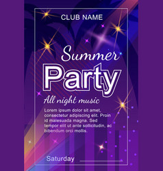 Invitation flyer for summer party in nightclub vector