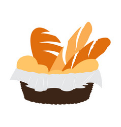 Isolated bread basket vector