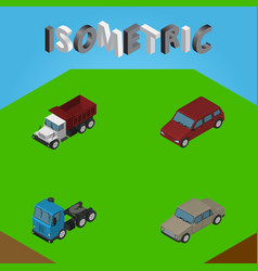 isometric car set of freight auto truck and vector image