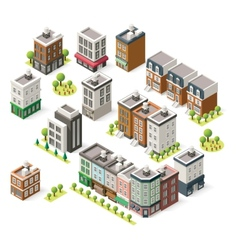 Isometric city buildings set vector