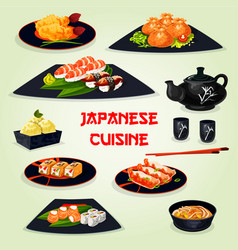 japanese cuisine dinner with dessert cartoon icon vector image