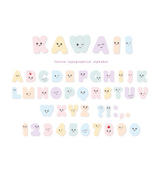 Kawaii alphabet in pastel colors with funny vector