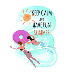 keep calm and have fun summer women in ring vector image