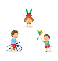Kids flying kite riding bicycle doing handstand vector
