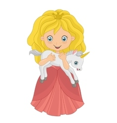 Little princess with baby unicorn vector