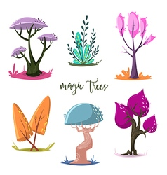 Magic trees set cartoon elements vector