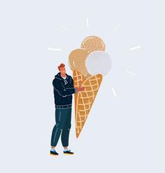 man holding big ice cream vector image