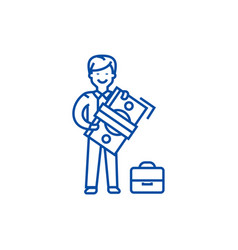 man with big money and suitcase line icon concept vector image