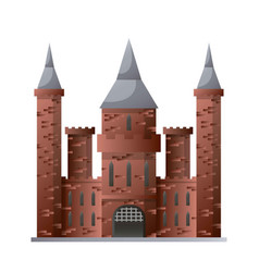 medieval castle with high towers made of brown vector image