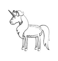 Monochrome blurred silhouette of male unicorn vector