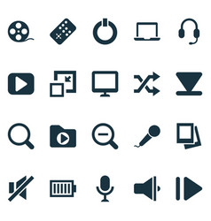 music icons set with zoom out begin laptop and vector image