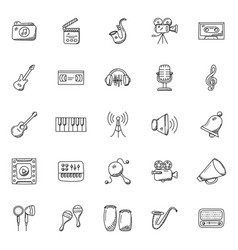 Music instruments doodle icons vector