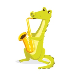musical animals crocodile saxophone vector image
