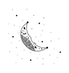 mystical moon with stars stars constellations vector image