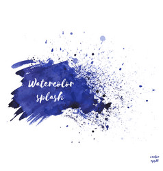 Navy blue indigo watercolor splash texture vector