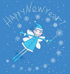 new years greeting card with a cheerful winter elf vector image