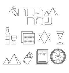 Passover line icons set vector