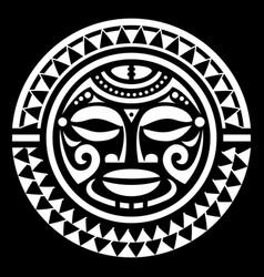 Polynesian maori face mandala pattern vector