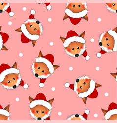 Red fox santa claus on pink christmas background vector