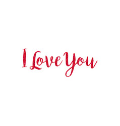 red glitter i love you typography vector image