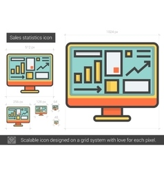 Sales statistics line icon vector