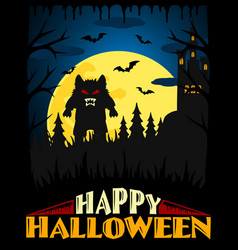 scary halloween background blue vector image