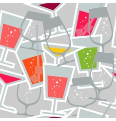 seamless pattern with different cocktails vector image