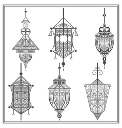 Set of ethnic ornamental lights in black and white vector image