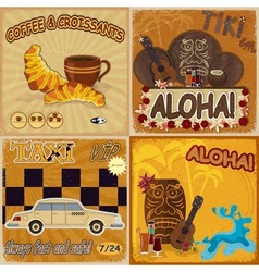 Set of vintage cards vector image